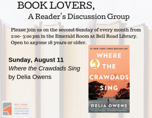 Book Lovers, A Reader's Discussion Group: Where the Crawdads Sing @ Emerald Room, Bell Road Library | Newburgh | Indiana | United States