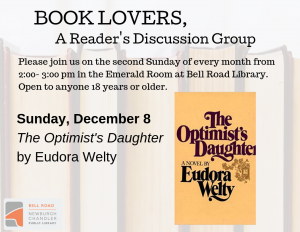 Book Lovers, A Reader's Discussion Group: The Optimist's Daughter @ Emerald Room, Bell Road Library | Newburgh | Indiana | United States
