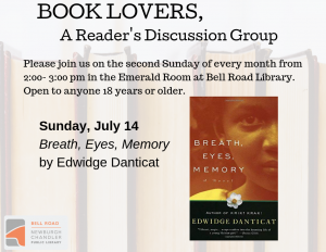 Book Lovers, A Reader's Discussion Group: Breath, Eyes, Memory @ Emerald Room, Bell Road Library | Newburgh | Indiana | United States
