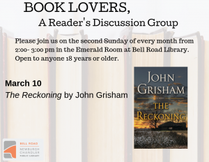 Book Lovers, A Reader's Discussion Group: The Reckoning @ Emerald Room, Bell Road Library | Newburgh | Indiana | United States
