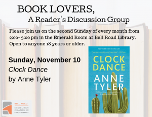 Book Lovers, A Reader's Discussion Group: Clock Dance @ Emerald Room, Bell Road Library | Newburgh | Indiana | United States