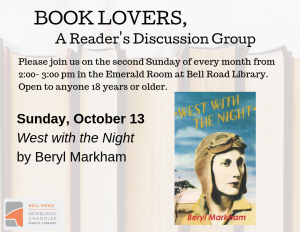 Book Lovers, A Reader's Discussion Group: West with the Night @ Emerald Room, Bell Road Library | Newburgh | Indiana | United States