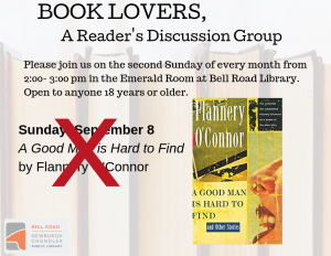 Book Lovers: No meeting in September @ Emerald Room, Bell Road Library | Newburgh | Indiana | United States