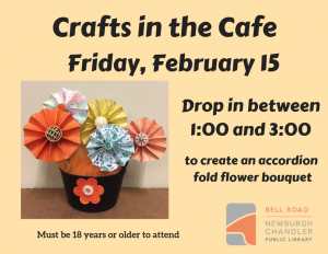 Crafts in the Cafe-Accordion Fold Floral Bouquet @ Bell Road Library | Newburgh | Indiana | United States
