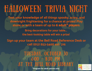 Adult Halloween Trivia Night @ Bell Road Library | Newburgh | Indiana | United States