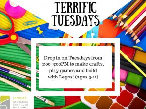 Terrific Tuesdays, ages 3-11 (drop in program) @ Chandler Children's Department | Chandler | Indiana | United States