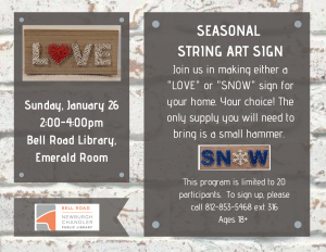 String Art Signs @ Bell Road Library | Newburgh | Indiana | United States