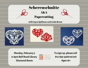 Scherenschnitte-German Paper Cutting @ Bell Road Library | Newburgh | Indiana | United States
