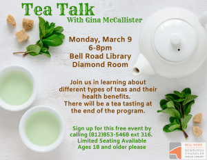 Tea Talk with Gina McCallister @ Bell Road Library | Newburgh | Indiana | United States