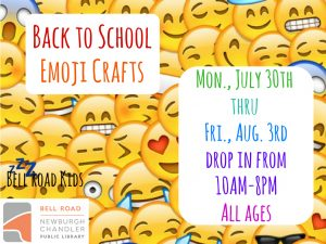 Back to School Emoji Crafts, all ages @ Bell Road Children's Department | Newburgh | Indiana | United States