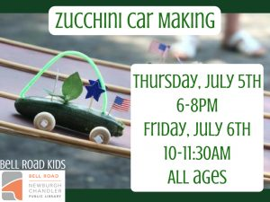 Zucchini Car Making, all ages @ Bell Road Children's Department | Newburgh | Indiana | United States
