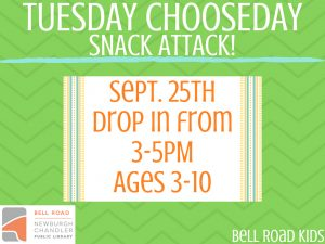 Snack Attack! ages 3-10 (drop in event) @ Bell Road Children's Department | Newburgh | Indiana | United States