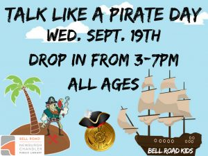 Talk Like a Pirate Day, ages 3-10 (drop in event) @ Bell Road Children's Department | Newburgh | Indiana | United States