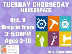 Tuesday Chooseday-Maker Space, ages 3-10, drop in event @ Bell Road Children's Department   Newburgh   Indiana   United States