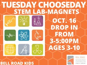 Tuesday Chooseday-STEM Lab, ages 3-10, drop in event @ Bell Road Children's Department   Newburgh   Indiana   United States