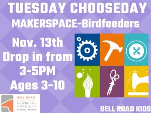 Tuesday Chooseday-Maker Space, ages 3-10 (drop in event) @ Bell Road Children's Department | Mansfield | Texas | United States