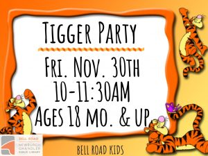 Tigger Party - ages 18 mo. and up (drop in event) @ Bell Road Children's Department | Newburgh | Indiana | United States