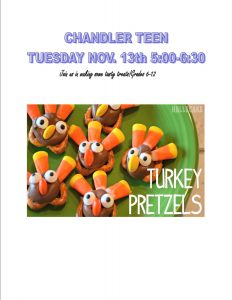 Chandler Teen Program- Making Turkey Treats @ Chandler Library | Chandler | Indiana | United States