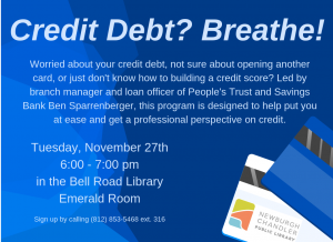 Credit Debt? Breathe! @ Emerald Room, Bell Road Library | Newburgh | Indiana | United States