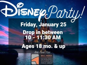 Disney Party, ages 18 mo. and up (drop in event) @ Bell Road Children's Department | Newburgh | Indiana | United States