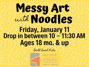 Messy Art-Noodles; ages 18 mo. and up (drop in event) @ Bell Road Children's Department | Newburgh | Indiana | United States