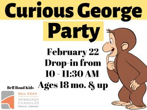 Curious George Party, ages 18 mo. and up (drop in event) @ Bell Road Children's Department | Newburgh | Indiana | United States