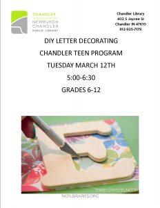 Chandler Teen Program @ Chandler Library | Chandler | Indiana | United States