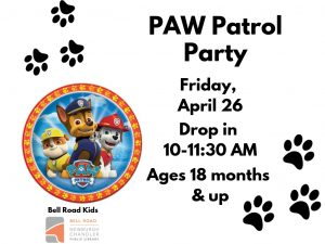 PAW Patrol Party, ages 18 mo. and up (drop in event) @ Bell Road Children's Department | Newburgh | Indiana | United States