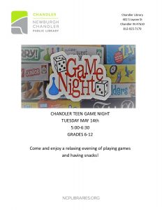 Chandler Teen Game Night @ Chandler Library | Chandler | Indiana | United States