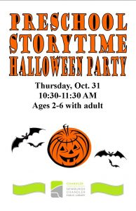 Preschool Halloween Party, ages 2-6 @ Chandler Library | Chandler | Indiana | United States