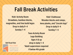 Fall Break Activities @ Bell Road Children's Department | Newburgh | Indiana | United States