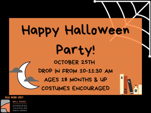 Happy Halloween Party, Ages 18 mo. and up (Drop-In Event) @ Bell Road Children's Department | Newburgh | Indiana | United States