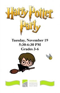 Harry Potter Party, 3rd-5th grade @ Chandler Library | Chandler | Indiana | United States